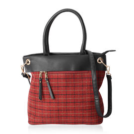 Close Out Deal Gingham Pattern Tote Bag with External Zipper Pocket and Removable Shoulder Strap (Size 30x31x12 Cm)