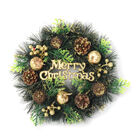 Decoration Wreath Embellished with Pine Cones, Golden Apples, Golden Berries and Merry Christmas Let