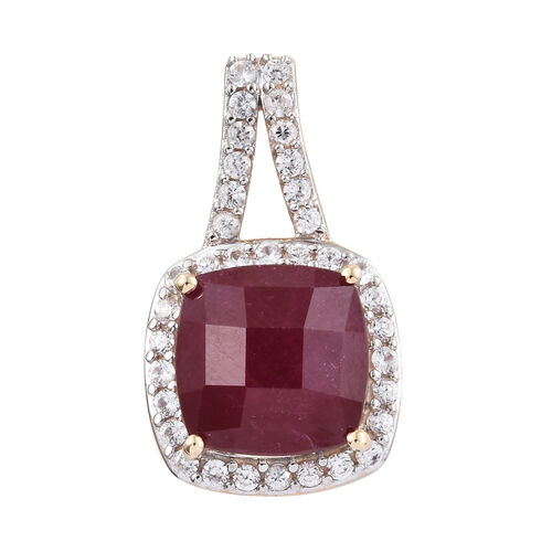 9K Yellow Gold AAA African Ruby (Cush 11.65 Ct) and Cambodian Zircon Pendant 12.750 Ct.