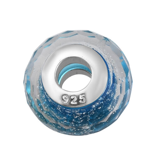 Charmes De Memoire Blue and Silver Murano Style Glass Bead Charm in Platinum Overlay Sterling Silver