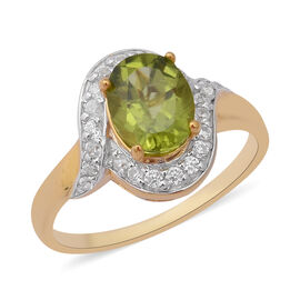 2.65 Ct Hebei Peridot and Zircon Halo Ring in Gold Plated Sterling Silver