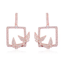 Simulated Diamond Butterfly Earrings in Rose Tone with Push Back