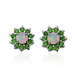 Ethiopian Welo Opal (Rnd), Russian Diopside Earrings in Rhodium Overlay Sterling Silver 1.500 Ct.