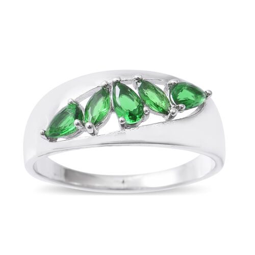 ELANZA  Simulated Emerald (Pear) Ring in Rhodium Overlay Sterling Silver