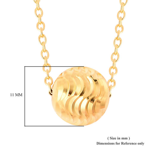 Designer Inspired Yellow Gold Overlay Sterling Silver Ball Bead Necklace (Size 18), Silver wt 3.00 Gms