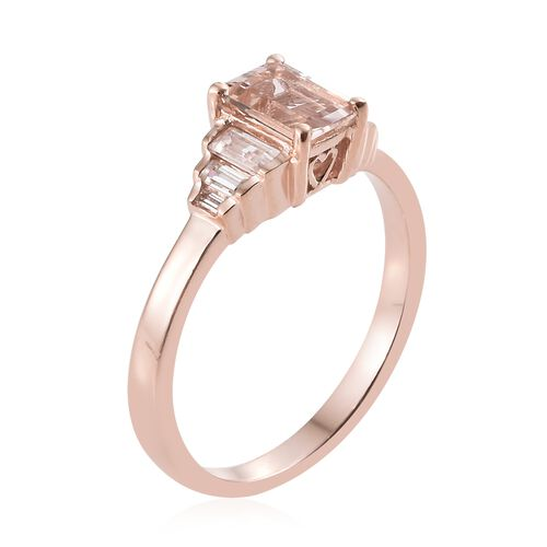Marropino Morganite (Oct), Natural Cambodian Zircon Ring in Rose Gold Overlay Sterling Silver 1.500 Ct.