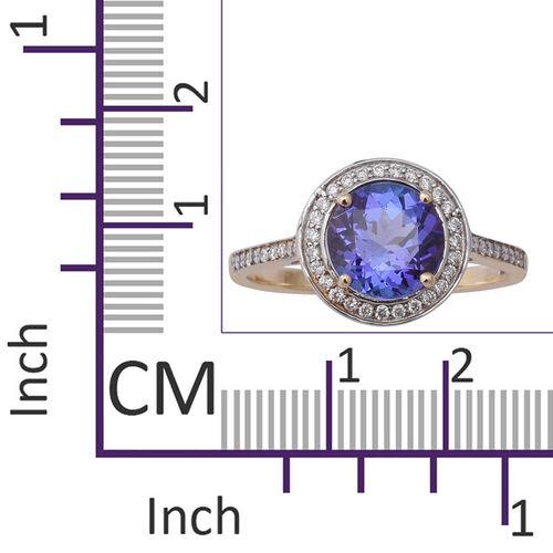 ILIANA 18K Yellow Gold AAA Tanzanite (Rnd 8mm), Diamond (SI/G-H) Ring 2.35 Ct.
