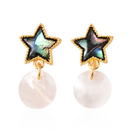 Abalone Shell and White Shell Drop Charm Earrings in Yellow Gold Tone