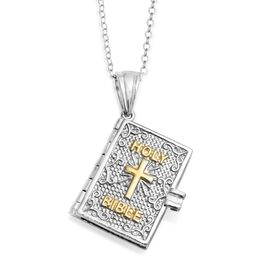 Platinum and Yellow Gold Overlay Sterling Silver Holy Bible Book Pendant With Chain (Size  20), Silv