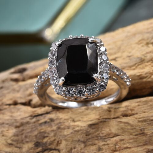 Elite Shungite (Cush 2.55 Ct), Natural Cambodian Zircon Ring in Platinum Overlay Sterling Silver 3.750 Ct.