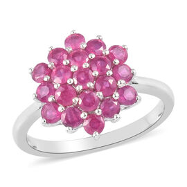 African Ruby Cluster Ring in Platinum Overlay Sterling Silver 1.75 Ct.