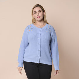 LA MAREY brand knit cardigan with colourful flower embroidery on the shoulder; Multicolour flower em