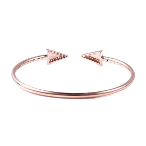LucyQ Art Deco Collection - Natural White Cambodian Zircon (Rnd) Arrow Bangle (Size 7.5) in Rose Gold Overlay Sterling Silver