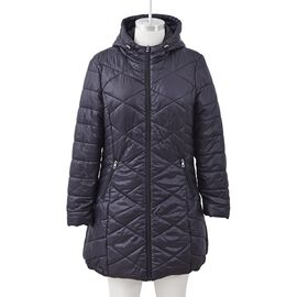 Solid Colour Women Long Puffer Coat with Two Zipper Pockets