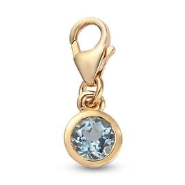 0.40 Ct Brazilian Aquamarine Charm in Gold Plated Sterling Silver