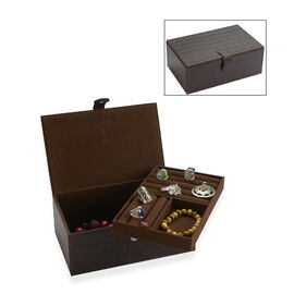 2-Tier Croc Embossed Leather Jewellery Box with Magnetic Flap Closure (Size 25x14.5x9 Cm) - Dark Plu