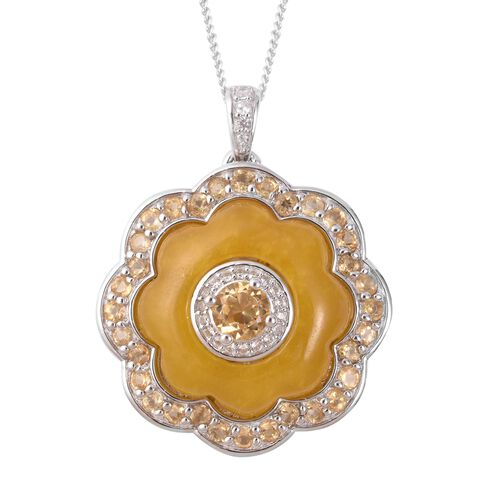 Honey Jade, Citrine and Natural Cambodian White Zircon Ring and Pendant with Chain (Size 18) in Rhodium Sterling Silver 25.40 Ct.