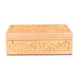 Handmade Peacock Pattern Carved Wooden Storage Box (Size 15x10x5Cm)