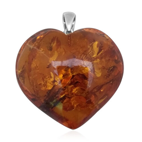 Limited Available- Hand Made-Tucson Collection Rare Size/Shape Baltic Amber Heart Pendant in Sterling Silver 43.500 Ct
