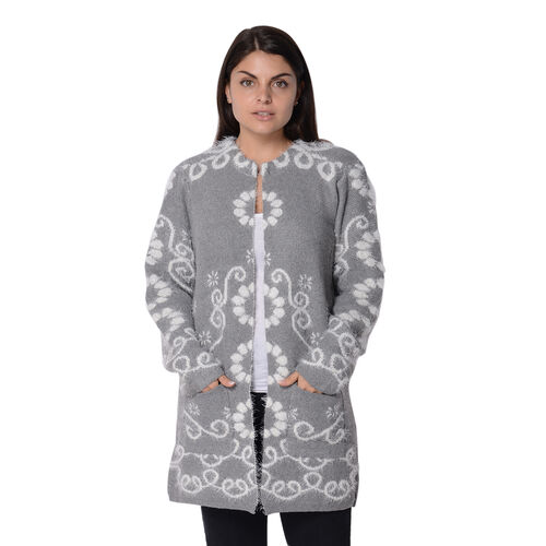 Soft and Smooth Winter Floral Pattern Sweater Coat with 2 Pockets (Size 52x80 Cm) - Grey and White