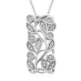 Diamond (Rnd) Leaves Pendant With Chain (Size 20) in Platinum Overlay Sterling Silver