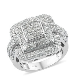 1 Carat Diamond Cluster Ring in Platinum Plated Sterling Silver 7.35 Grams