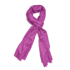 Limited Available -  Super Soft - 100% Cashmere Wool Fuchsia Colour Shawl with Fringes (Size 190x68C