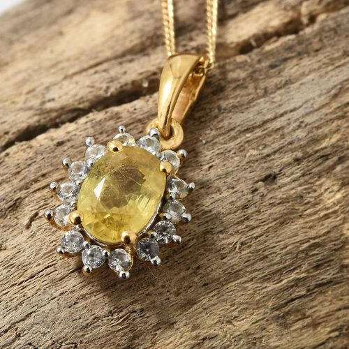 WEBEX- Yellow Sapphire (Ovl), Natural Cambodian Zircon Halo Pendant with Chain (Size 20) in 14K Gold Overlay Sterling Silver 1.250 Ct