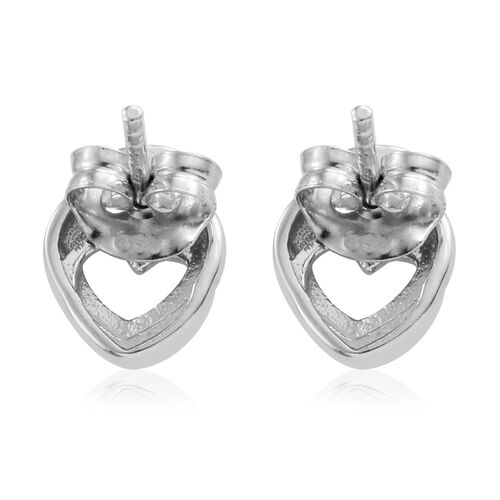 Diamond (Rnd) Heart Stud Earrings (with Push Back) in Platinum and Yellow Gold Overlay Sterling Silver