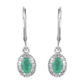ILIANA 18K White Gold AAA Boyaca Colombian Emerald and Diamond (SI/G-H) Lever Back Earrings 1.15 Ct.