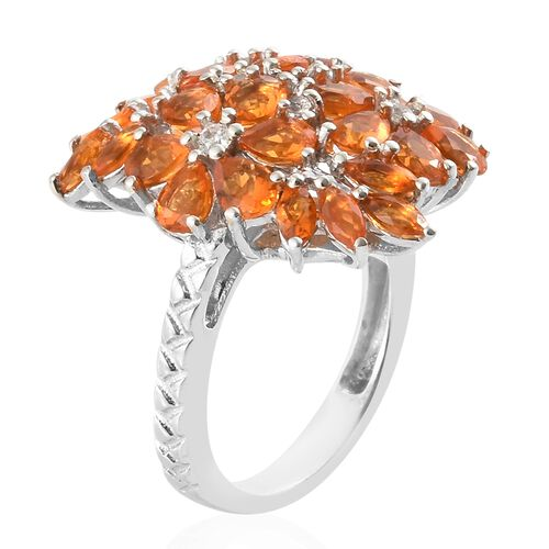 Jalisco Fire Opal (Pear), Natural Cambodian Zircon Cluster Ring in Platinum Overlay Sterling Silver 2.500 Ct, Silver wt 5.00 Gms.