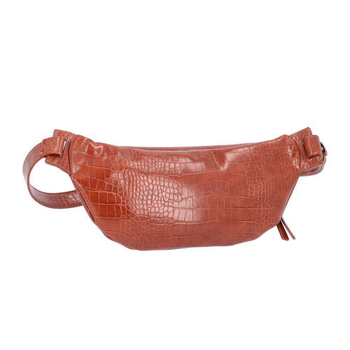 Tan Croc Pattern Waist Bag with Zipper Closure (Size 28x10 Cm)