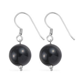 22.05 Ct Black Agate Solitaire Drop Earrings with Hook in Platinum Plated Silver