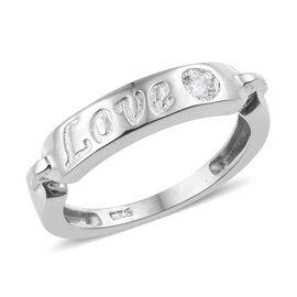 J Francis - Platinum Overlay Sterling Silver (Rnd) Love Band Ring Made with SWAROVSKI ZIRCONIA
