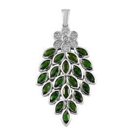 6 Ct Russian Diopside Cluster Floral Pendant in Platinum Plated Sterling Silver 7.6 Grams
