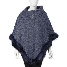 Faux Fur Warm Poncho with Fluffy Edges (Size 80x90 Cm) - Navy