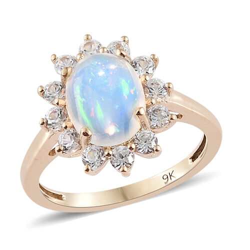 9K Yellow Gold AA Ethiopian Welo Opal (Ovl 9x7mm), Natural Cambodian Zircon Ring 2.000 Ct.