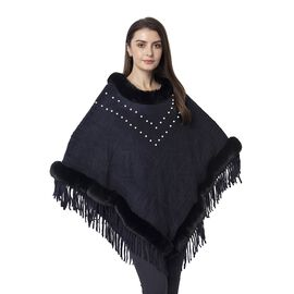 Black Colour Poncho with Faur Fur Collar with White Colour Beads (Size 91.44x85.09 Cm)