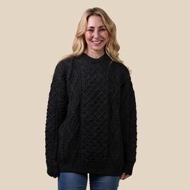 ARAN 100% Pure New Wool Sweater Charcoal