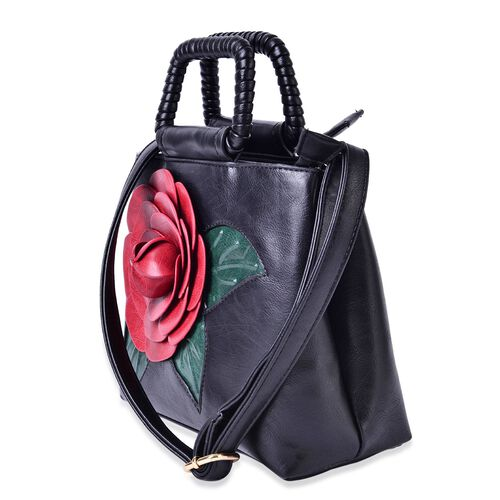 (LAST CHANCE CLEARANCE )Botanical Collection Red 3D Floral Tote Bag with Adjustable and Removable Shoulder Strap (Size 27x14.5 Cm)