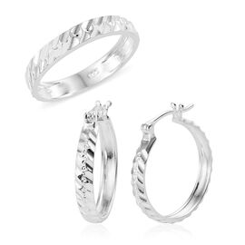 2 Piece Set - Sterling Silver Band Ring and Hoop Earrings, Silver wt 4.68 Gms.
