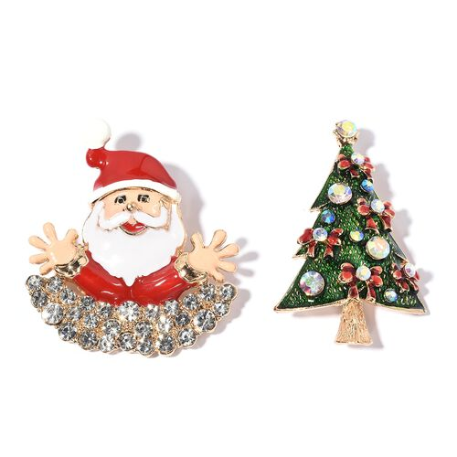 Set of 2 - White Austrian Crystal (Rnd), Magic Colour Austrian Crystal Santa Claus and Christmas Tree Brooch