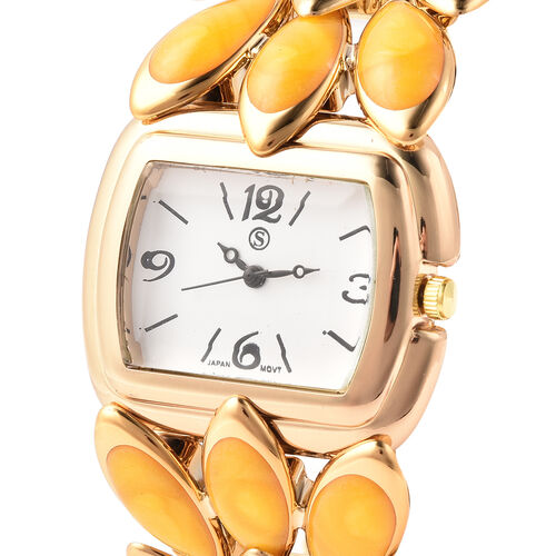 2 Piece Set - STRADA Japanese Movement Water Resistant Adjustable Watch with Floral Petal Design Strap and Yellow Agate Stretchable Bracelet (Size 6.5-7) with Butterfly Charm in Gold Tone 125.00Ct.