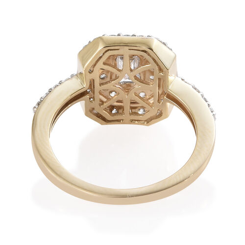 J Francis - 9K Yellow Gold (Oct and Rnd) Ring Made With SWAROVSKI ZIRCONIA