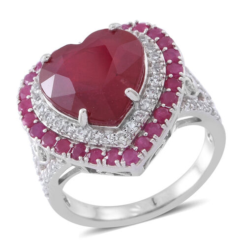 Red Carpet Collection- African Ruby (Hrt 10.50 Ct), Burmese Ruby and White Topaz Heart Ring in Rhodi