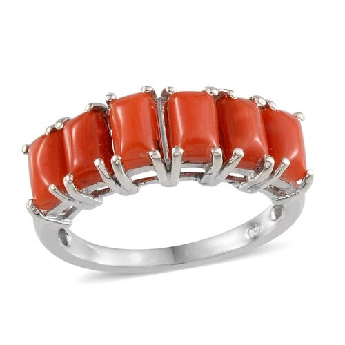 Mediterranean Coral (3.25 Ct) Platinum Overlay Sterling Silver Ring  3.250  Ct.