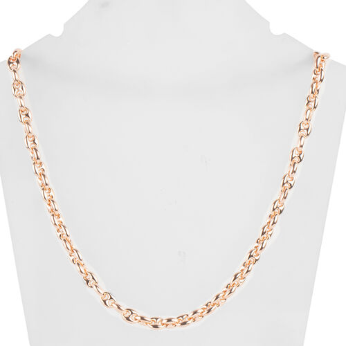 Italian Made- Rose Gold Overlay Sterling Silver Mariner Necklace (Size 20), Silver wt 31.33 Gms