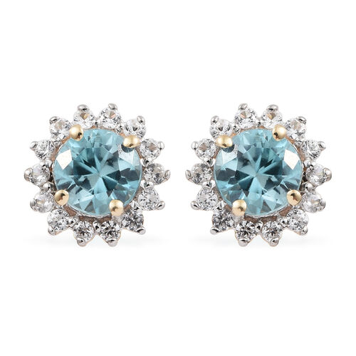 9K Yellow Gold Blue Zircon (Rnd), Natural Cambodian Zircon Halo Stud Earrings (with Push Back) 1.650