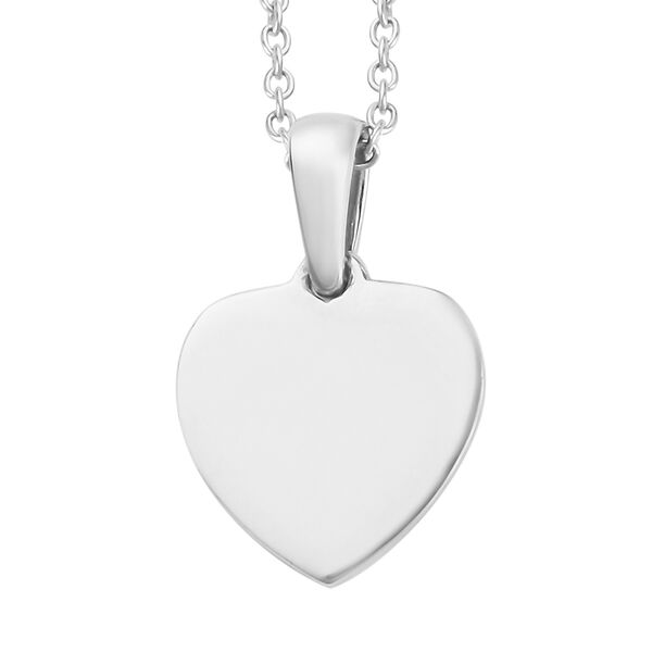 Platinum Overlay Sterling Silver Initial M Heart Pendant with Chain (Size 20)