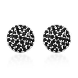Boi Ploi Black Spinel (Rnd) Stud Earrings (With Push Back) in Sterling Silver 1.500  Ct.
